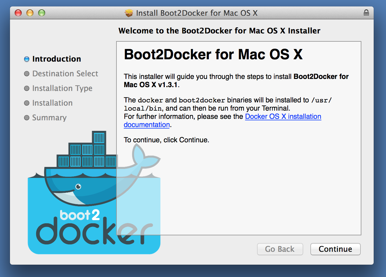 Instructions to install boot2docker