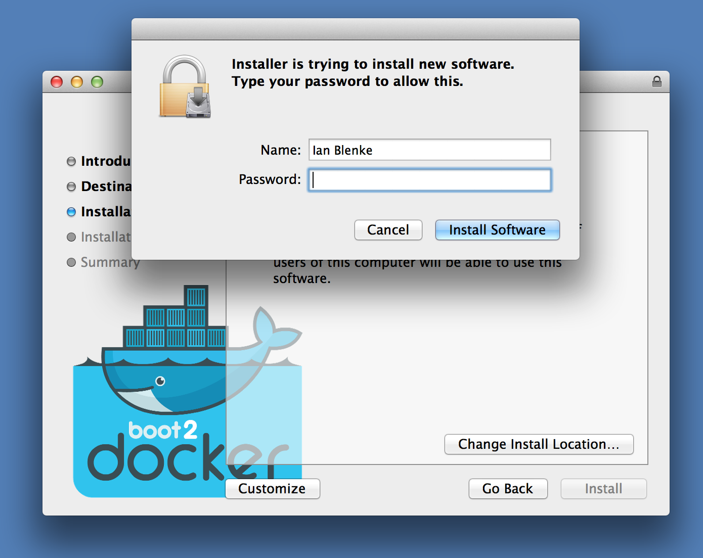 Installer asks for admin rights to install boot2docker