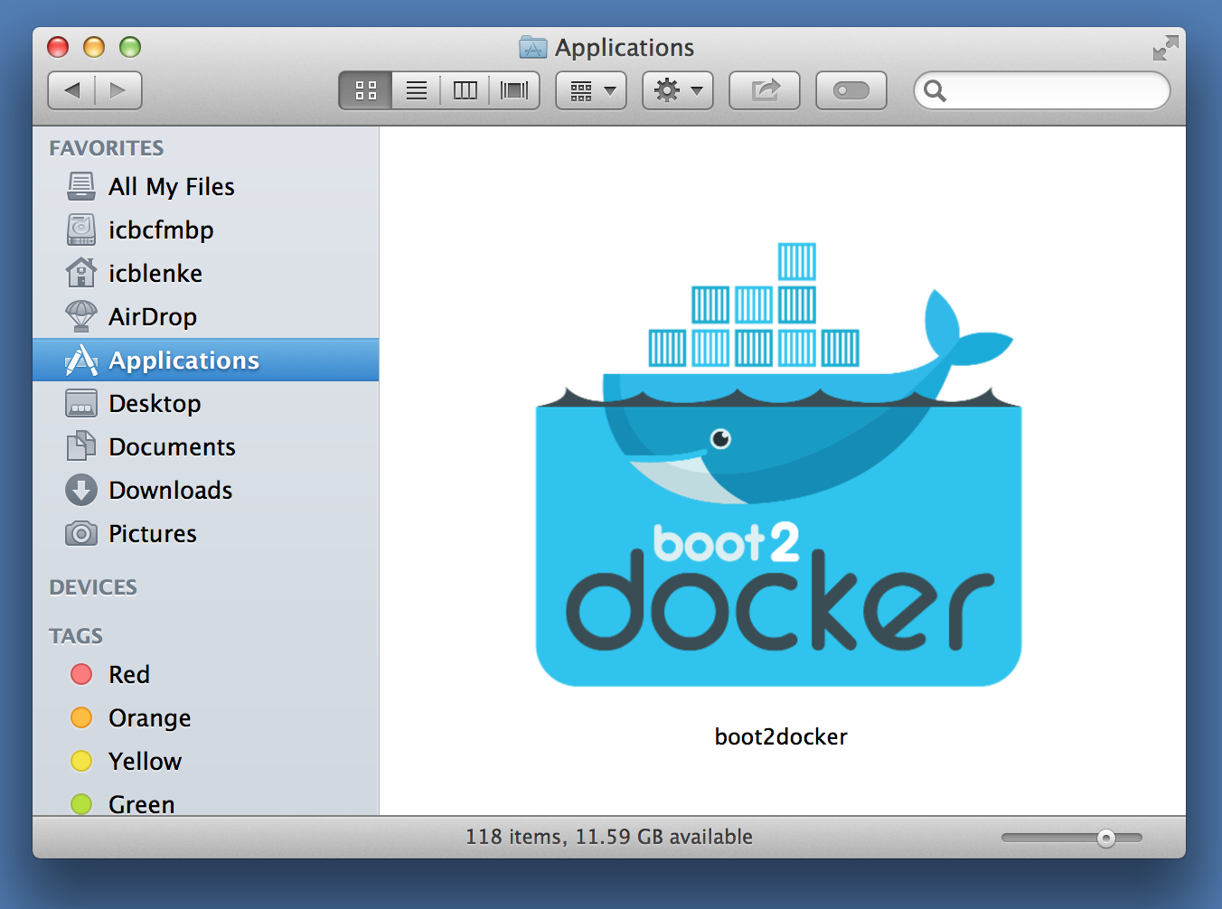 Boot2docker app is in Applications